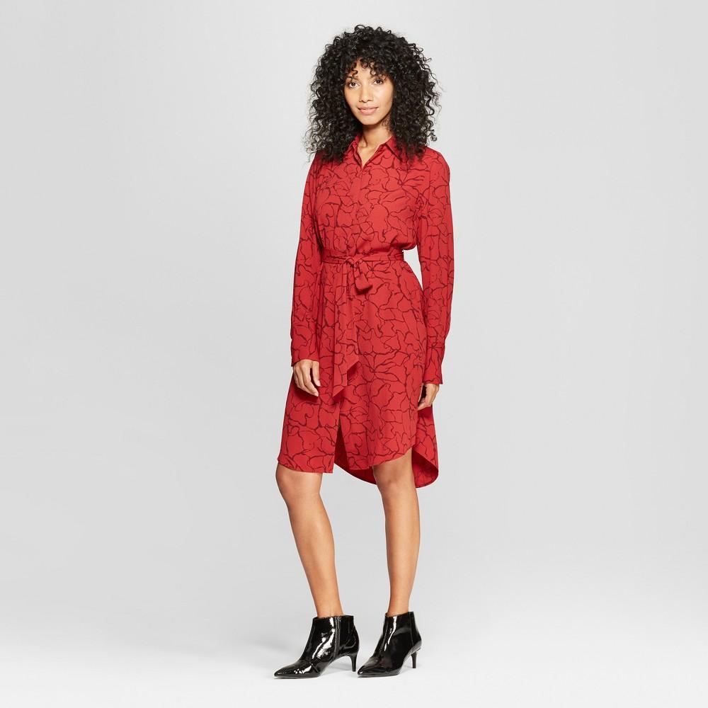 Women's Long Sleeve Printed Shirtdress - Prologue Red Xxl