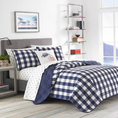 Full/Queen Lake House Plaid Quilt Set Blue - Eddie Bauer