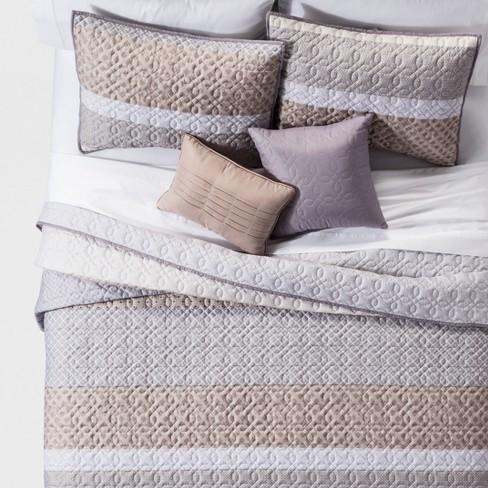 Neutral Henry Global Stripe Quilt Set 5pc - image 1 of 2