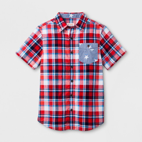 e5d113f4992 Boys  Short Sleeve Button-Down Shirt - Cat   Jack™ Red White Blue ...