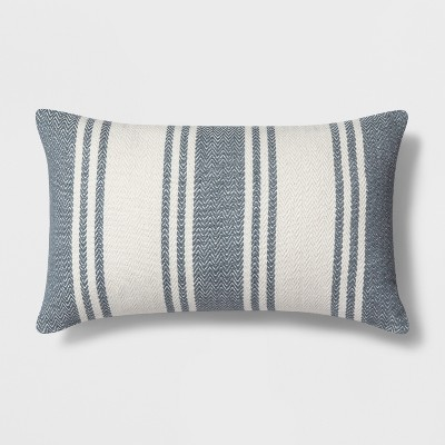 Woven Stripe Lumbar Throw Pillow White/Blue - Threshold™