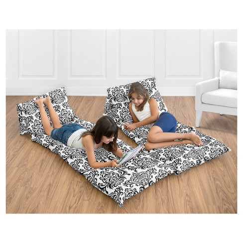 Black & White Floor Pillow Lounger Cover (Pillows Not Included) - Sweet Jojo Designs - image 1 of 3
