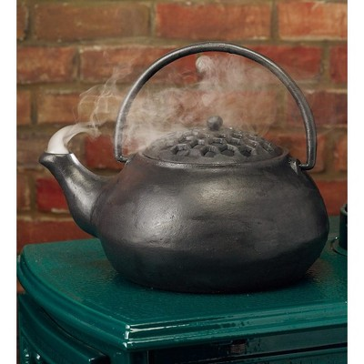 Plow & Hearth - Cast Iron Wood Stove Steamer Kettle / Humidifier with 3 Quart Capacity, Black