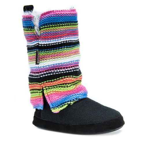 Womens Muk Luks Trisha Striped Sweater Knit Slipper Boots Target
