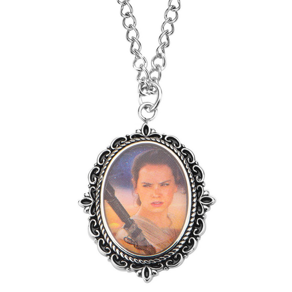 Women's Disney Star Wars Episode 7 Rey Graphic Stainless Steel Cameo Pendant with Chain (18 + 3)