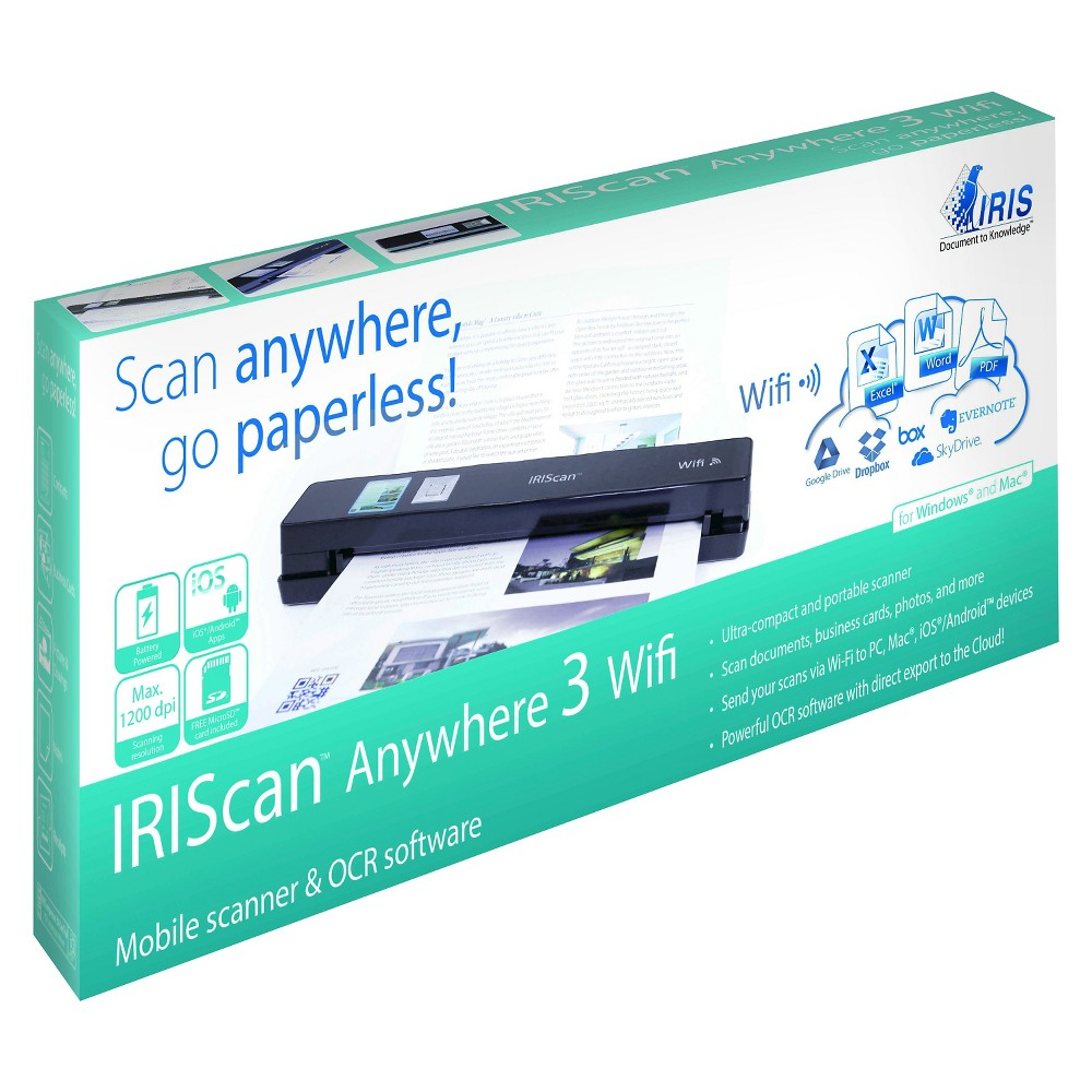 IRISCan Wireless Portable 1200 dpi Color Scanner with WiFi - Black (458129)