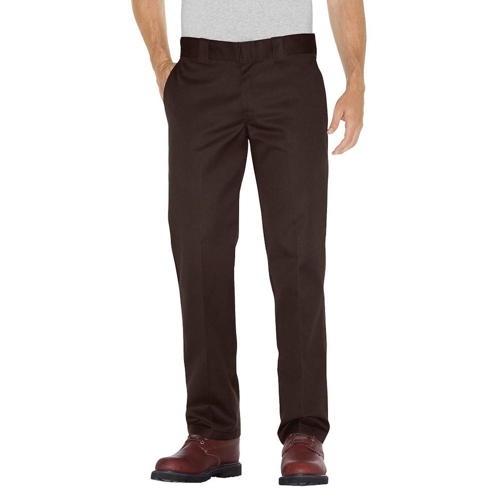 Dickies Men's Slim Straight Fit Twill Pants- Chocolate Brown 36x32