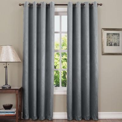 Gunther Crushed Texture Energy Efficient Grommet Curtain Panel Gray 50 x84 - Sun Zero