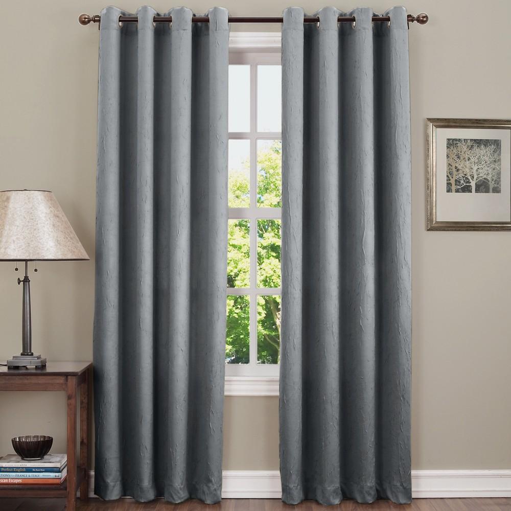 Gunther Crushed Room Darkening Grommet Curtain Panel Gray 50