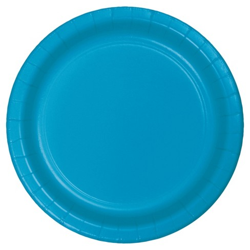 "Turquoise Blue 9"" Paper Plates - 24ct - image 1 of 1"