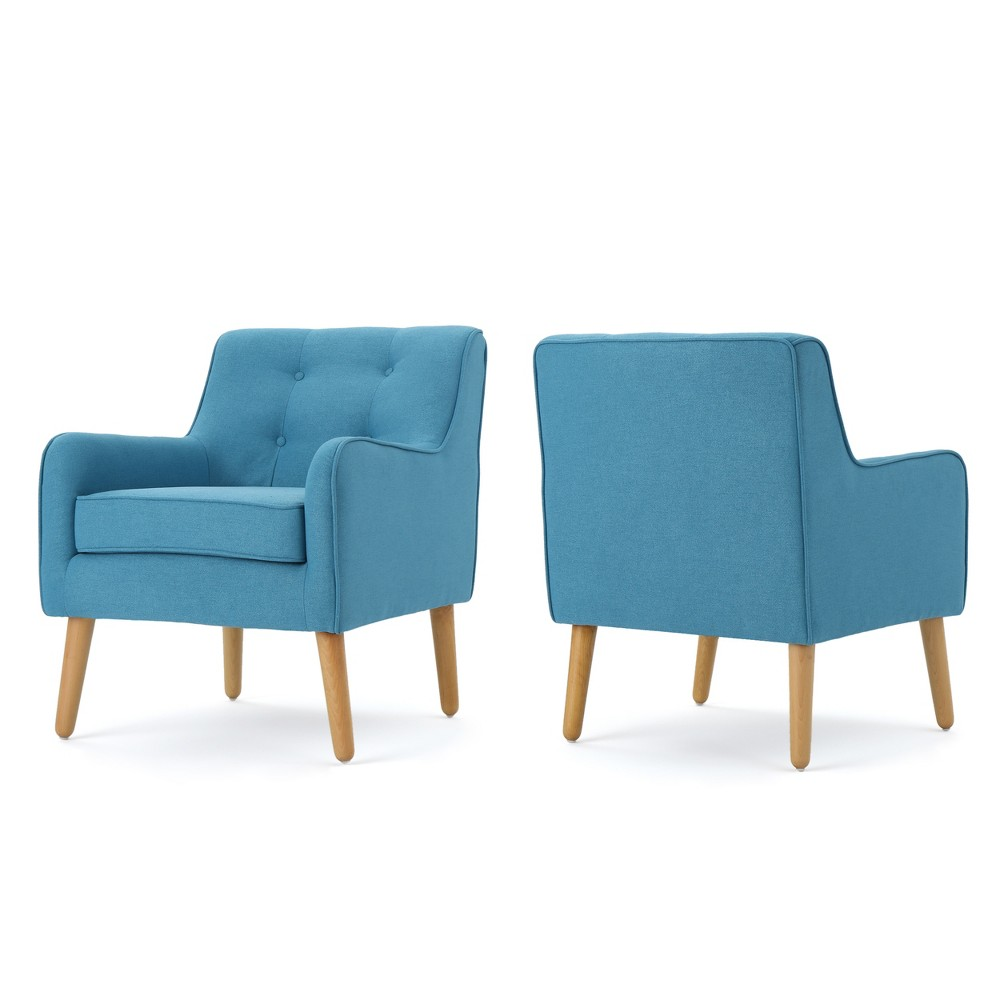 Set Of 2 Felicity Mid Century Armchairs Teal Christopher Knight Home