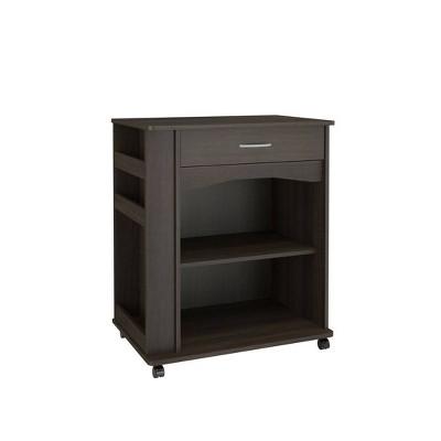 Drawer Mobile Microwave Cart Black - Nexera