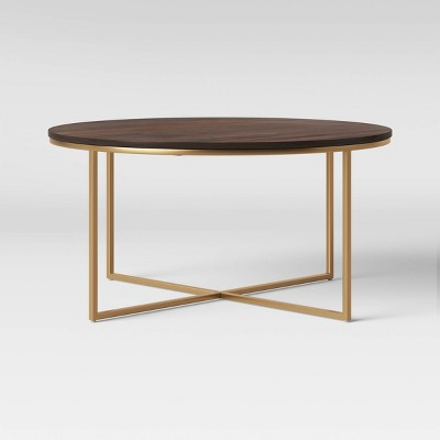 Dale Round Wood Coffee Table with Brass Base Coffee Brown - Project 62™