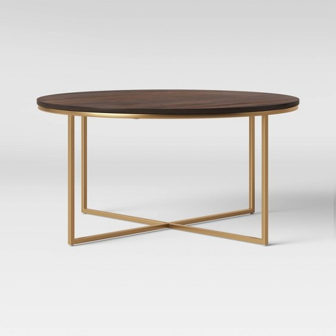 Dale Round Wood Coffee Table with Brass Base Coffee Brown - Project 62™ - image 1 of 4