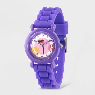 Girls' Disney The Incredibles 2 Violet Parr Purple Plastic Time Teacher Watch - Purple