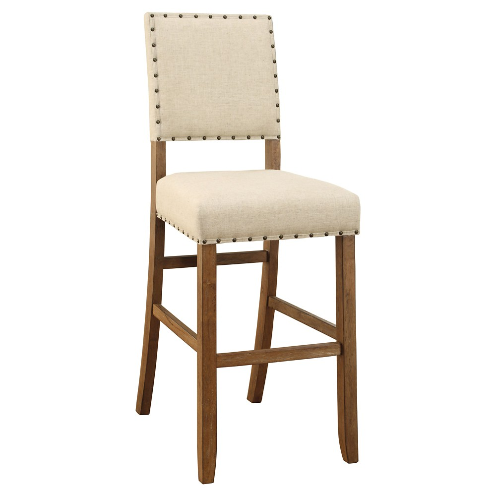 Sun & Pine Eliza Rustic Bar Height Chair - Natural Tone (Set of 2)