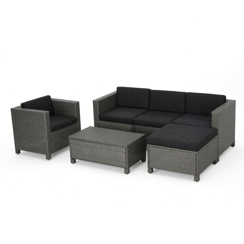 Puerta 6pc Wicker L-Shaped Sectional Sofa Set - Christopher Knight ...