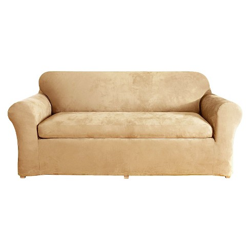 Stretch Suede 2 Piece Sofa Slipcover Camel - Sure Fit