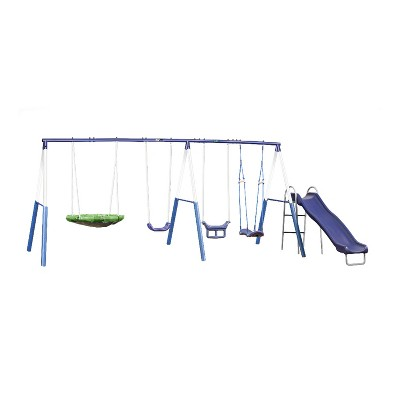 XDP Recreation 76667 Kids Outdoor Backyard Surf N Swing Playground Swing Set and Activity Center with Wave Slide and Surfboard Swing