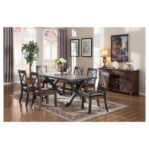 Earvin Dining Table Weathered Cherry Acme