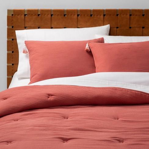 Solid Cotton Gauze Tasseled Comforter Set - Opalhouse™ - image 1 of 5