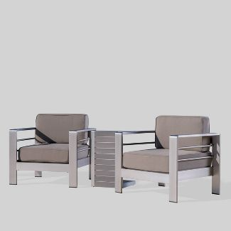 Cape Coral 3pc Aluminum and Polymer Wood Chat Set Khaki - Christopher Knight Home