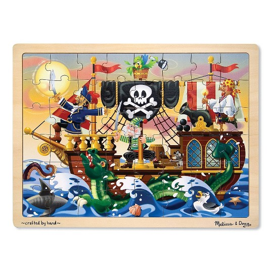 Melissa & Doug Wooden Jigsaw Puzzles Set - Rainforest Animals and Pirate Ship 2pc image number null