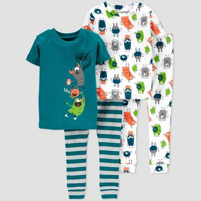Baby Boys' 4pc Monster Pajama Set - Just One You® made by carter's Blue 9M