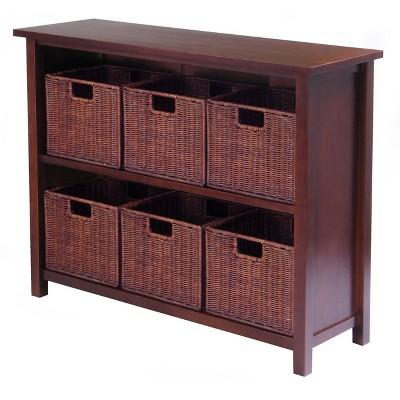 """30"""" 7pc Milan Storage Shelf With Baskets Walnut - Winsome"""