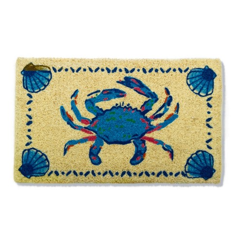"""TAG 1'6"""" x 2'6"""" Crab Coir Doormat Doormat Indoor Outdoor Welcome Mat Coastal Nautical Beach - image 1 of 3"""
