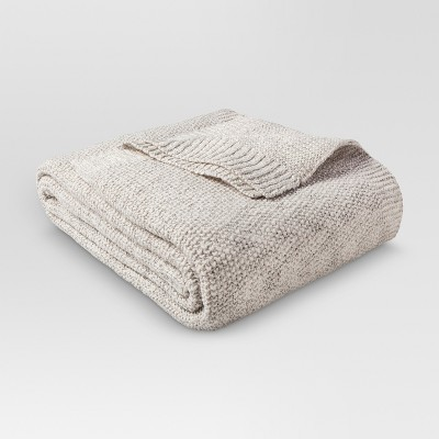 Full/Queen Sweater Knit Bed Blanket Sour Cream/Hot Coffee - Threshold™