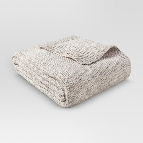 Twin Sweater Knit Bed Blanket Sour Cream/Hot Coffee - Threshold™ - image 1 of 1