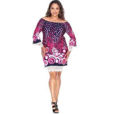 Women's Plus Size 3/4 Bell Sleeves Lace Trim Lenora Dress - White Mark
