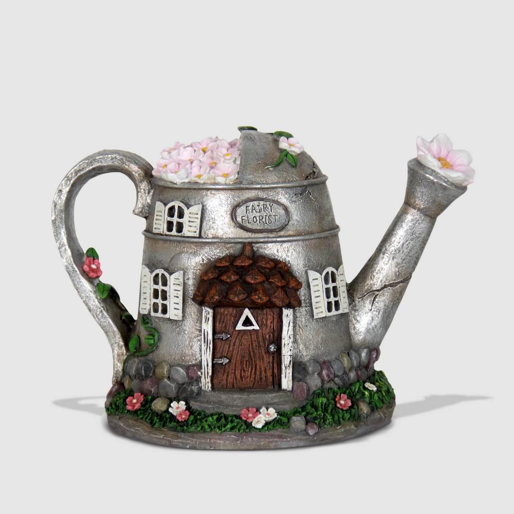"""Image of """"10"""""""" Resin Solar Silver Tea Pot Silver - Exhart"""""""