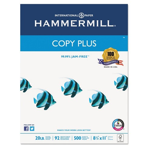 Hammermill Copy Plus Copy Paper 92 Brightness 20lb 8-1/2 x 11 White 5000 Sheets/Carton 105007 - image 1 of 4