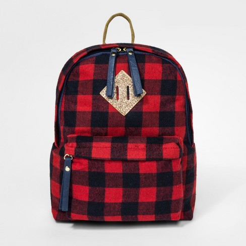 Girls' Buffalo Plaid Backpack - Cat & Jack™ Red - image 1 of 3