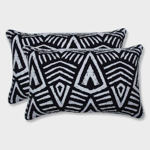 2pk Tribal Dimensions Rectangular Throw Pillows Black - Pillow Perfect - image 1 of 1