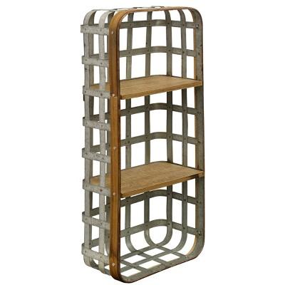 28  Industrial Functional Wall Hanging Metal and Wood Shelf Decorative Wall Art Aluminum - StyleCraft