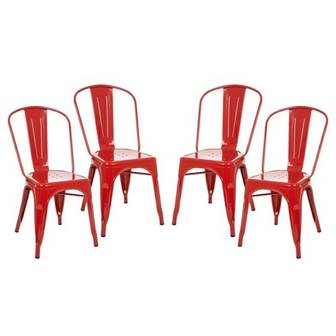 Set Of 4 Vintage High Back Metal Dining Chair Red Glitzhome