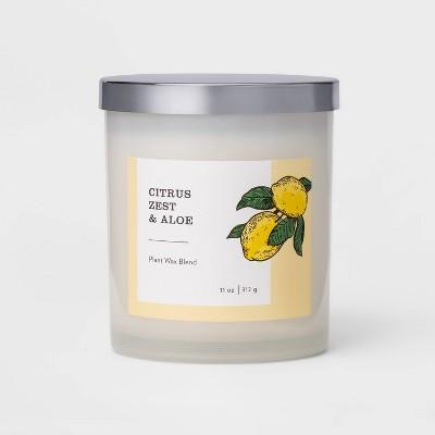 11oz Milky Glass Lidded Jar Candle Citrus Zest & Aloe - Threshold™