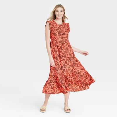 Women's Floral Print Ruffle Sleeveless Dress - Universal Thread™