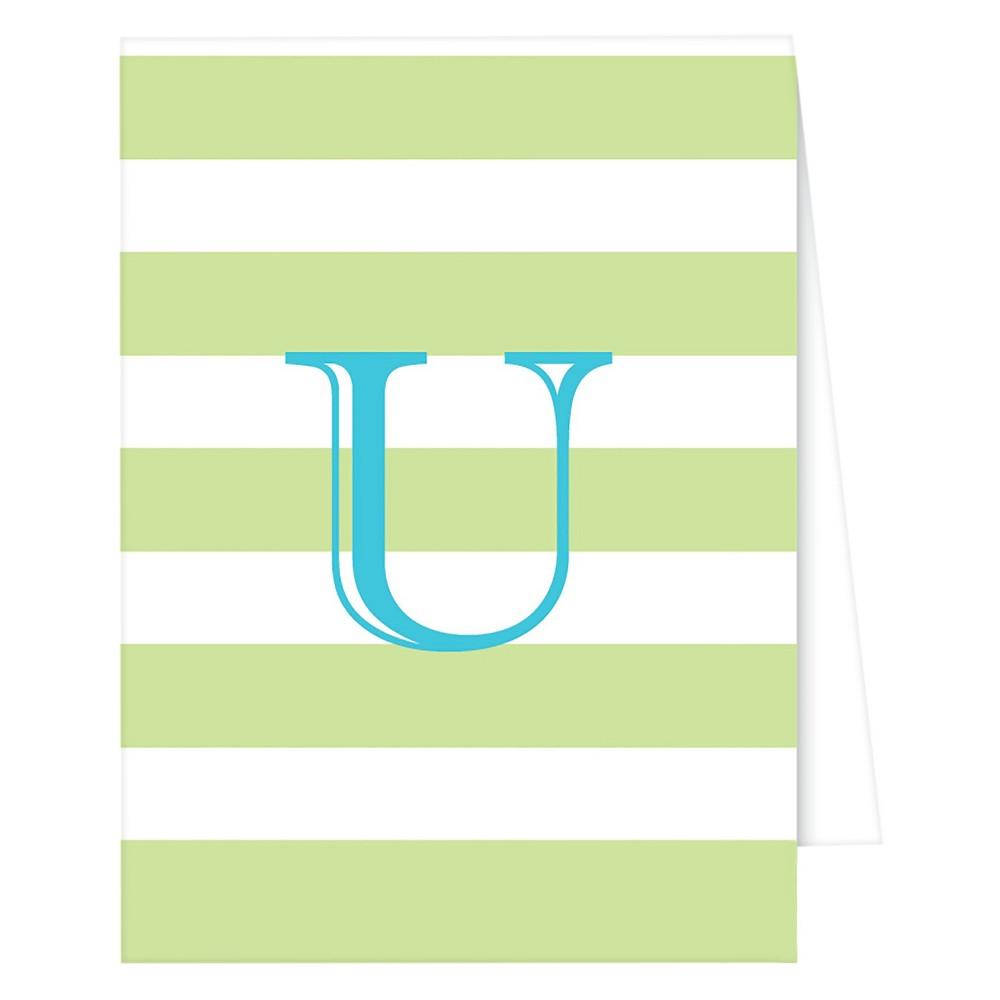 RosanneBECK Collections Light Green Note Cards - Cabana Stripe Monogram - U