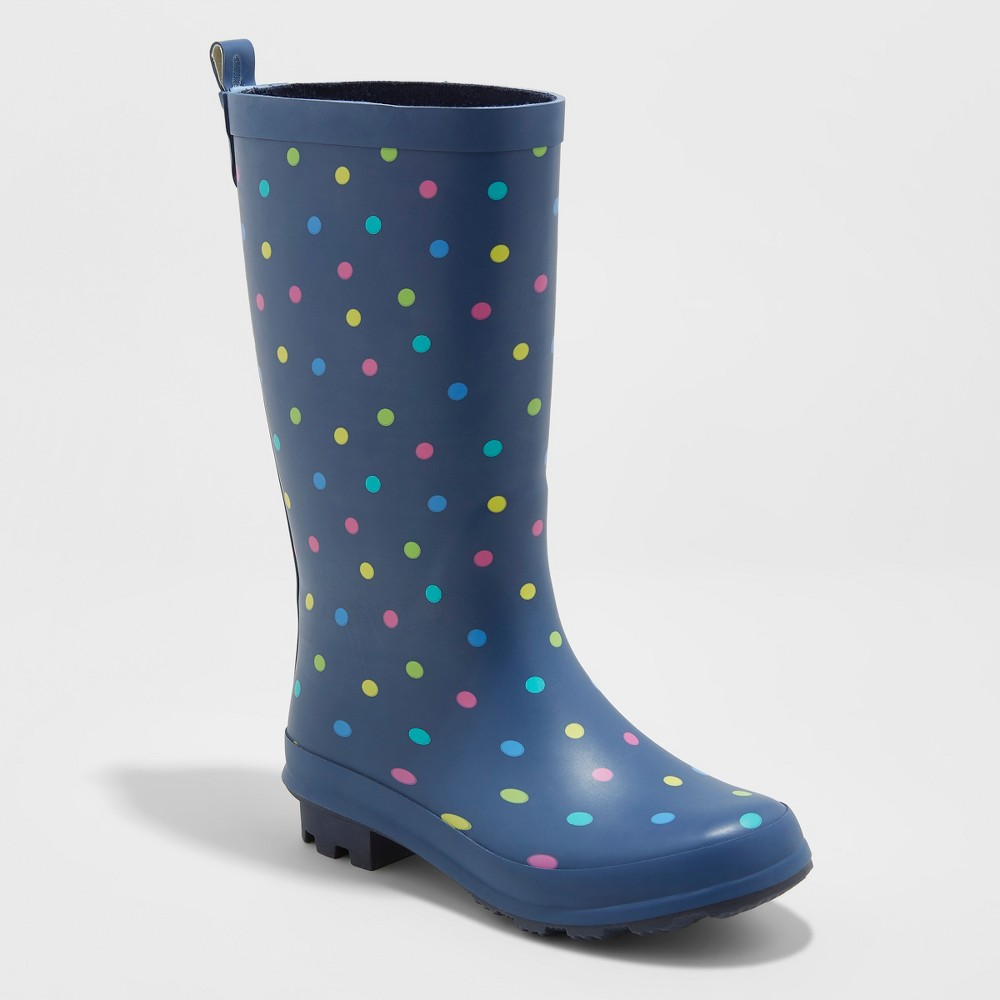 Girls' Audria Polka Dot Rain Boots - Cat & Jack Navy 3, Blue