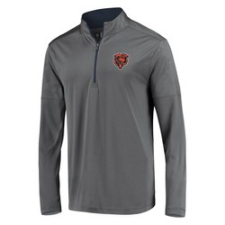 NFL Chicago Bears Men's Poly Embossed Gray 1/2 Zip Hoodie