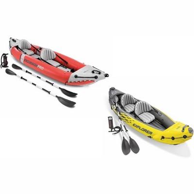 Intex 2 Person Vinyl Kayak w/ Oars & Pump & 2-Person K2 Kayak w/ Oars Air Pump