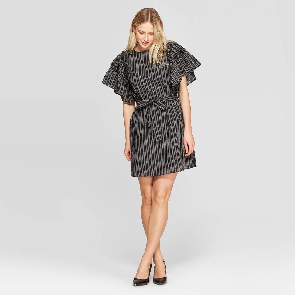 Women's Striped Short Ruffle Sleeve Boat Neck Tie Waist Shift Dress - Who What Wear Black/White Xxl