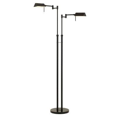 "45.5"" x 58.5"" Adjustable Metal Clemson Dual Pharmacy Swing Arm Floor Lamp (Includes LED Light Bulb) Dark Bronze - Cal Lighting"