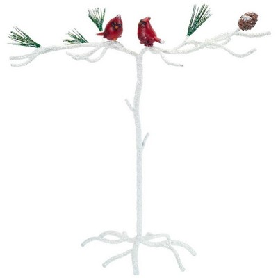 """Melrose 15"""" White and Red Snowy Cardinal Christmas Ornament Display Branch Tabletop Decor"""