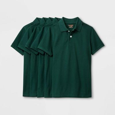 Boys' 5pk Short Sleeve Uniform Polo Shirt - Cat & Jack™ Dark Green