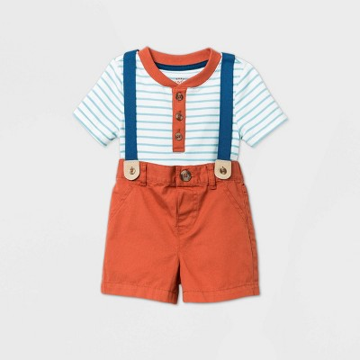 Baby Boys' Henley Suspender Top & Bottom Set - Cat & Jack™ Cream Newborn